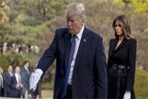 트럼프 대통령, '국립현충원 참배' 방한 마지막 공식 일정 마쳐
