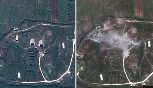 미 국방성, 시리아 공습 전·후 위성사진 공개