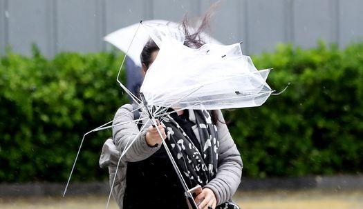 변덕스런 비바람에 우산도 머리카락도 승천!