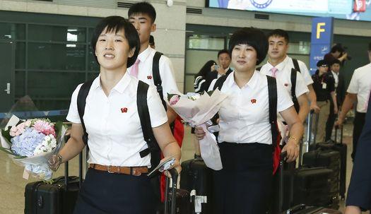 꽃다발 들고 방긋! 북한 탁구 선수단 입국