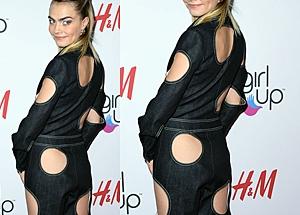 '엉덩이에 구멍..' 카라 델러바인, 파격 패션
