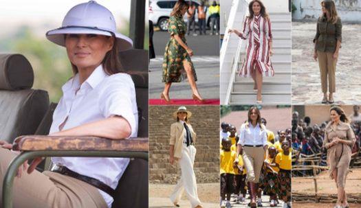 아프리카 순방, 멜라니아 패션 눈에 띄네