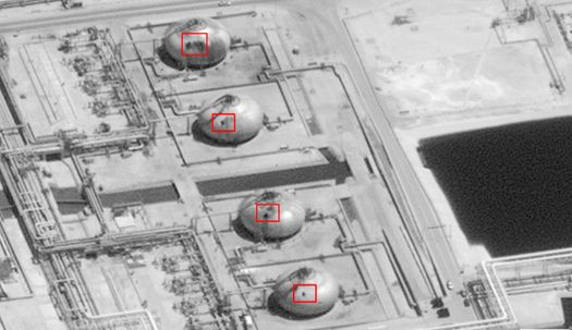 드론 공격으로 17군데 파괴되고 구멍난 사우디 석유시설 위성사진