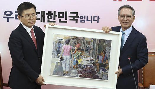 한국당 공천위원장 김형오, 황교안 대표에 선물한 그림의 뜻