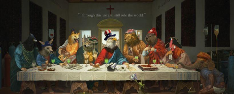 예수 자리엔 美, 日은 시바견···中 '최후의 G7' 조롱